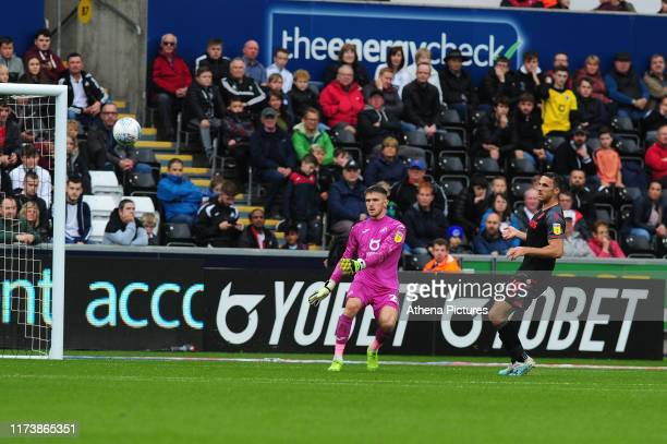 Freddie Woodman of Swansea City in action during the Sky Bet Championship match between Swansea City and Stoke City at the Liberty Stadium on October...
