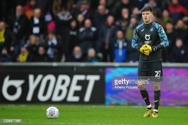 Freddie Woodman of Swansea City in action during the Sky Bet Championship match between Swansea City and West Bromwich Albion at the Liberty Stadium...