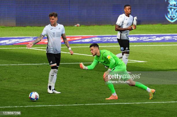 Freddie Woodman of Swansea City in action during the Sky Bet Championship match between Swansea City and Birmingham City at the Liberty Stadium on...