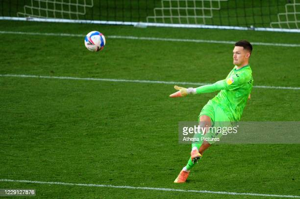 Freddie Woodman of Swansea City in action during the Sky Bet Championship match between Swansea City and Huddersfield Town at the Liberty Stadium on...