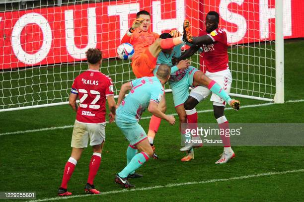 Freddie Woodman of Swansea City in action during the Sky Bet Championship match between Bristol City and Swansea City at Ashton Gate on October 24...