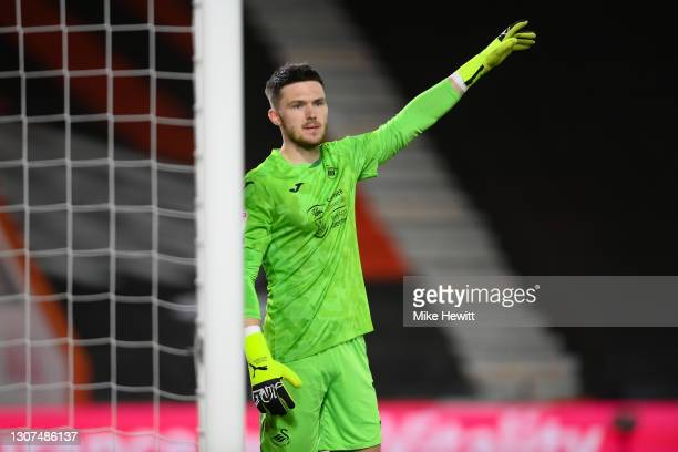 Freddie Woodman of Swansea City signals during the Sky Bet Championship match between AFC Bournemouth and Swansea City at Vitality Stadium on March...