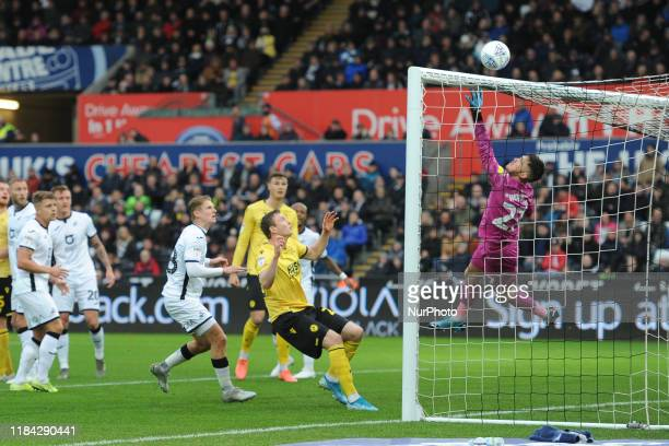 Freddie Woodman of Swansea during the Sky Bet Championship match between Swansea City and Millwall at the Liberty Stadium Swansea on Saturday 23rd...