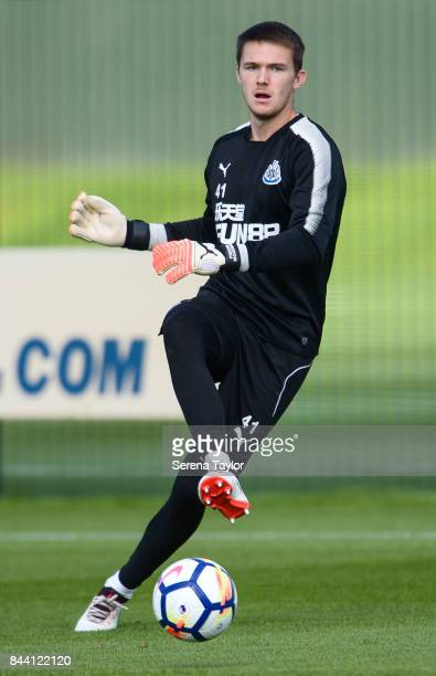 Freddie Woodman passes the ball during the Newcastle United Training session at the Newcastle United Training ground on September 8 in Newcastle upon...