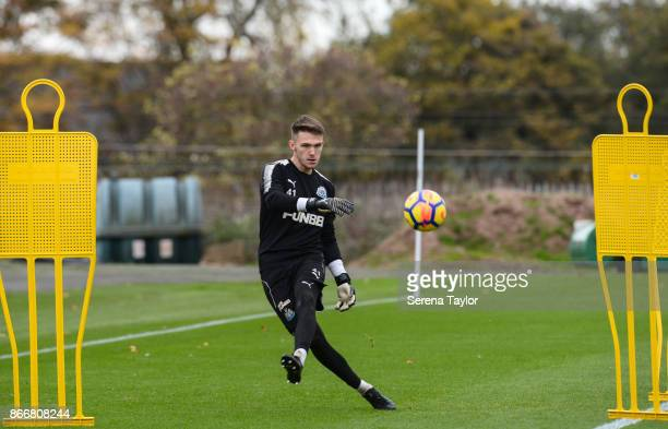 Freddie Woodman passes the ball during the Newcastle United Training Session at The Newcastle United Training Centre on October 26 in Newcastle...
