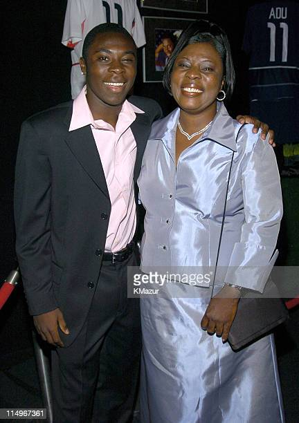 Freddy Adu and mother Emeila during 2nd Annual Audi and Conde Nast Never Follow Campaign Honoring the Careers of Four Innovators at The Manhattan...