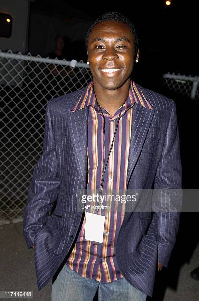 Freddy Adu during Spike TV's 2nd Annual Video Game Awards 2004 Red Carpet at Barker Hangar in Santa Monica California United States