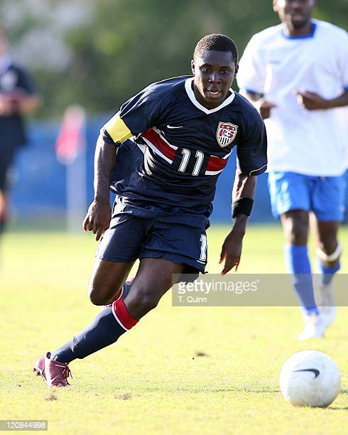 Freddy Adu looks up field before passing the ball. USA under 21 men's team completely outclassed Haiti's under 23 team 5-1, In Fort Lauderdale,...