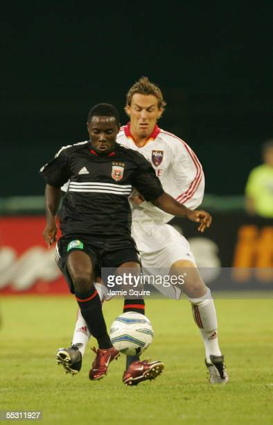 Freddy Adu of DC United dribbles against Real Salt Lake during the MLS game on August 31, 2005 at RFK Stadium in Washington, DC. DC United defeated...