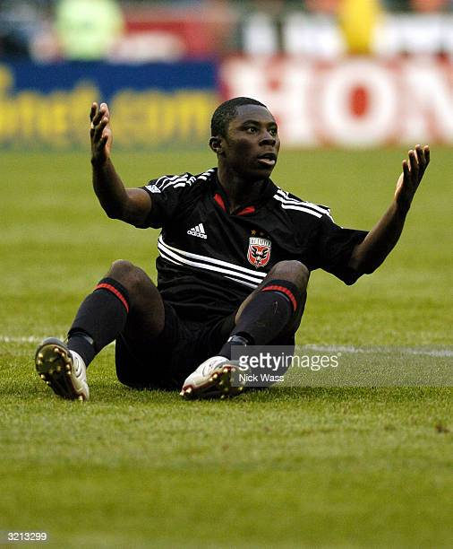 Freddy Adu of DC United holds up his hands asking for a foul against the San Jose Earthquakes during the first half at RFK Stadium April 3 2004 in...