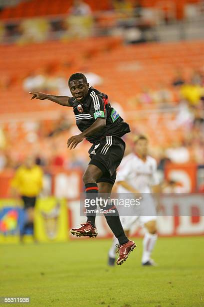Freddy Adu of DC United leaps in the air against Real Salt Lake during the MLS game on August 31, 2005 at RFK Stadium in Washington, DC. DC United...