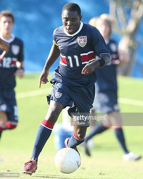 Freddy Adu of DC United moves into the attack for USA. USA under 21 men's team completely outclassed Haiti's under 23 team 5-1, In Fort Lauderdale,...