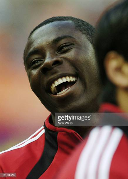 Freddy Adu of DC United smiles during warmups before their game against the San Jose Earthquakes at RFK Stadium April 3 2004 in Washington DC United...