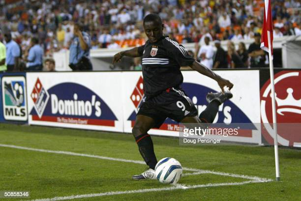 Freddy Adu of DC United takes a corner kick against the Los Angeles Galaxy as the Galaxy defeated United 42 during MLS action at RFK Stadium on May...