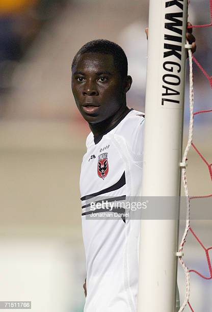 Freddy Adu of the DC United looks on from the goal against the Chicago Fire on July 22 2006 at Toyota Park in Bridgeview Illinois