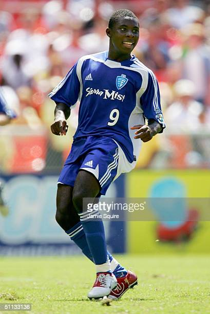Freddy Adu of the East All-Stars in action during the Sierra Mist MLS All-Star Game at RFK Stadium on July 31, 2004 in Washington, DC. The East...