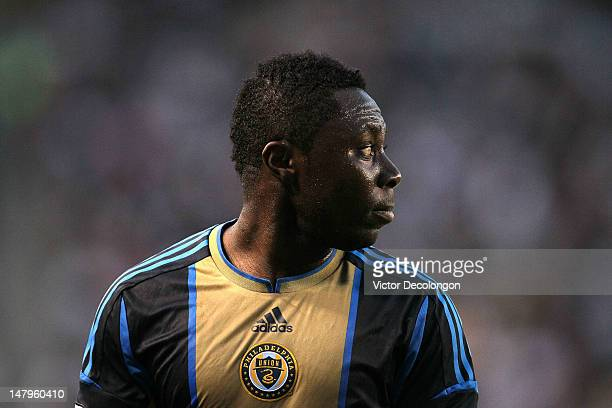 Freddy Adu of the Philadelphia Union looks to his teammates prior to a Union cornerkick during the MLS match against the Los Angeles Galaxy at The...