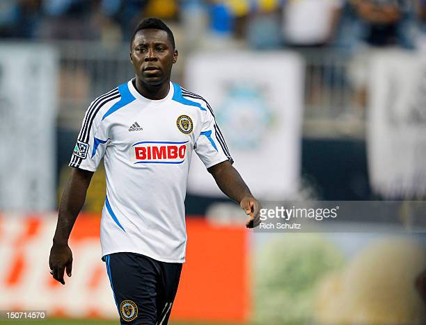 Freddy Adu of the Philadelphia Union walks onto the pitch before the start of a Major League Soccer game against Real Salt Lake on August 24, 2012 at...