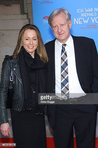 Freddy Burger and Isabella Recker attend the 'Ich war noch niemals in New York' Musical premiere in Berlin at Theater des Westens on March 25 2015 in...