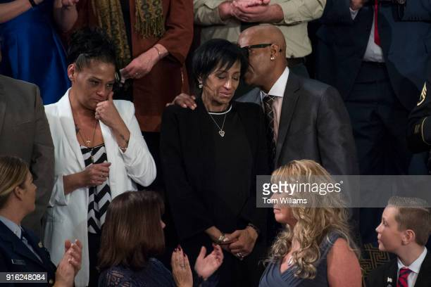 Freddy Cuevas right and Evelyn Rodriguez parents of Kayla Cuevas who was killed by MS13 gang members are recognized by President Donald Trump during...
