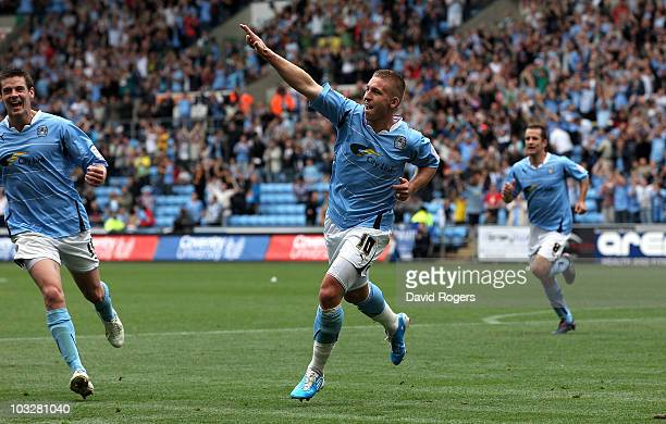 Freddy Eastwood of Coventry City celebrates after scoring his second goal during the npower Championship match between Coventry City and Portsmouth...