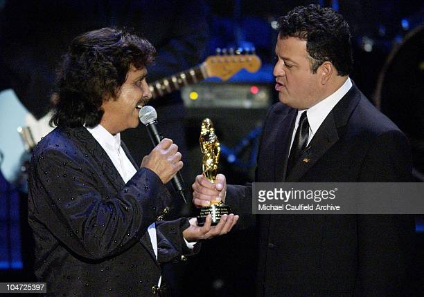 Freddy Fender winner of the Ritchie Valens Pioneer Award with presenter Paul Rodriguez