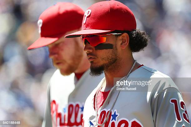 TORONTO ON JUNE 14 Freddy Galvis leaves the field as the Toronto Blue Jays win an afternoon game against the Philadelphia Phillies in Toronto June 14...