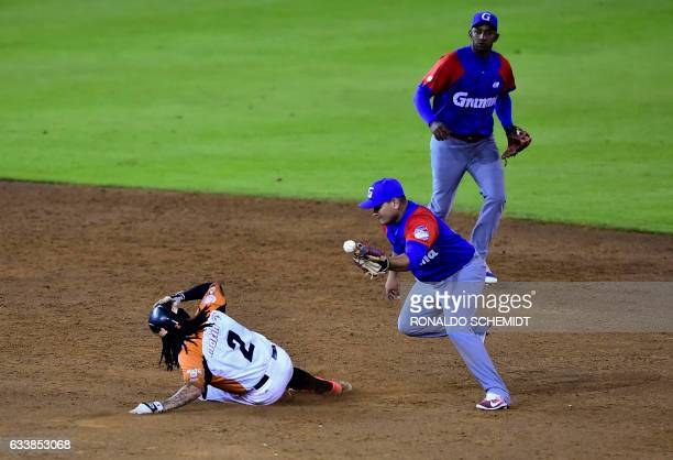 Freddy Galvis of Aguilas del Zulia from Venezuela slides safely into second base against Alazanes de Granma from Cuba during the Caribbean Baseball...