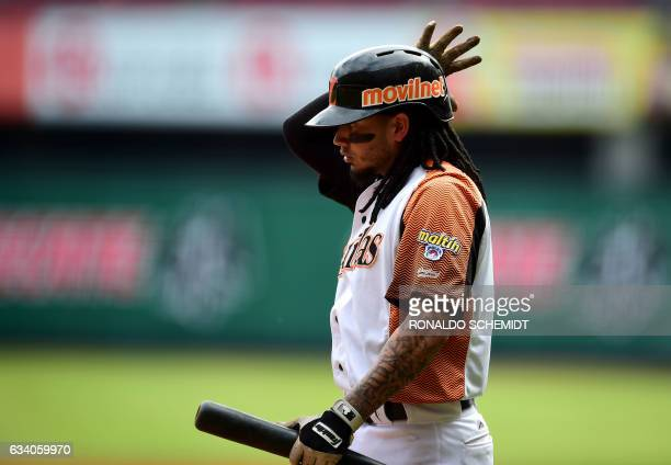 Freddy Galvis of Aguilas del Zulia of Venezuela gestures during a Caribbean Baseball Series match against Criollos de Caguas from Puerto Rico at the...