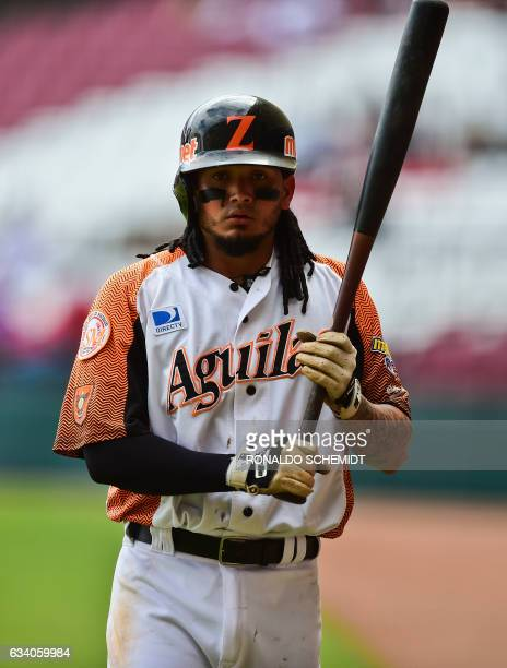 Freddy Galvis of Aguilas del Zulia of Venezuela warms up during a Caribbean Baseball Series match against Criollos de Caguas from Puerto Rico at the...