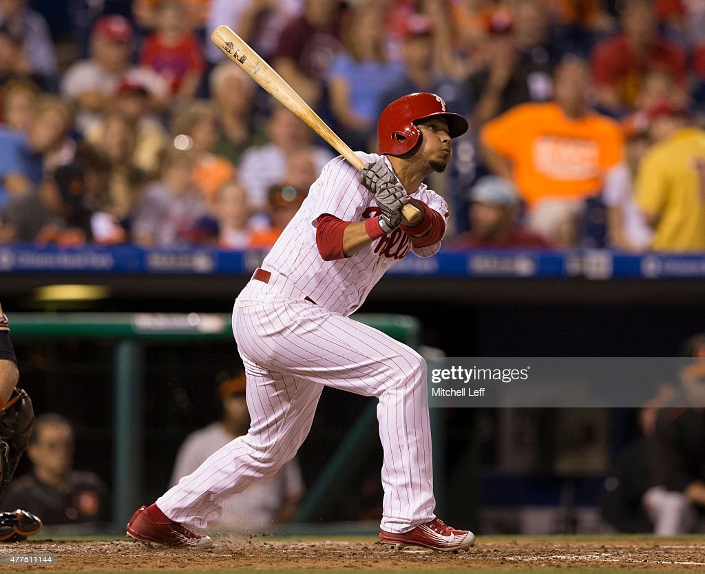 Freddy Galvis #13 of the Philadelphia Phillies hits a three run home run in the bottom of the seventh inning against the Baltimore Orioles on June 17, 2015 at the Citizens Bank Park in Philadelphia, Pennsylvania. The Orioles defeated the Phillies 6-4.