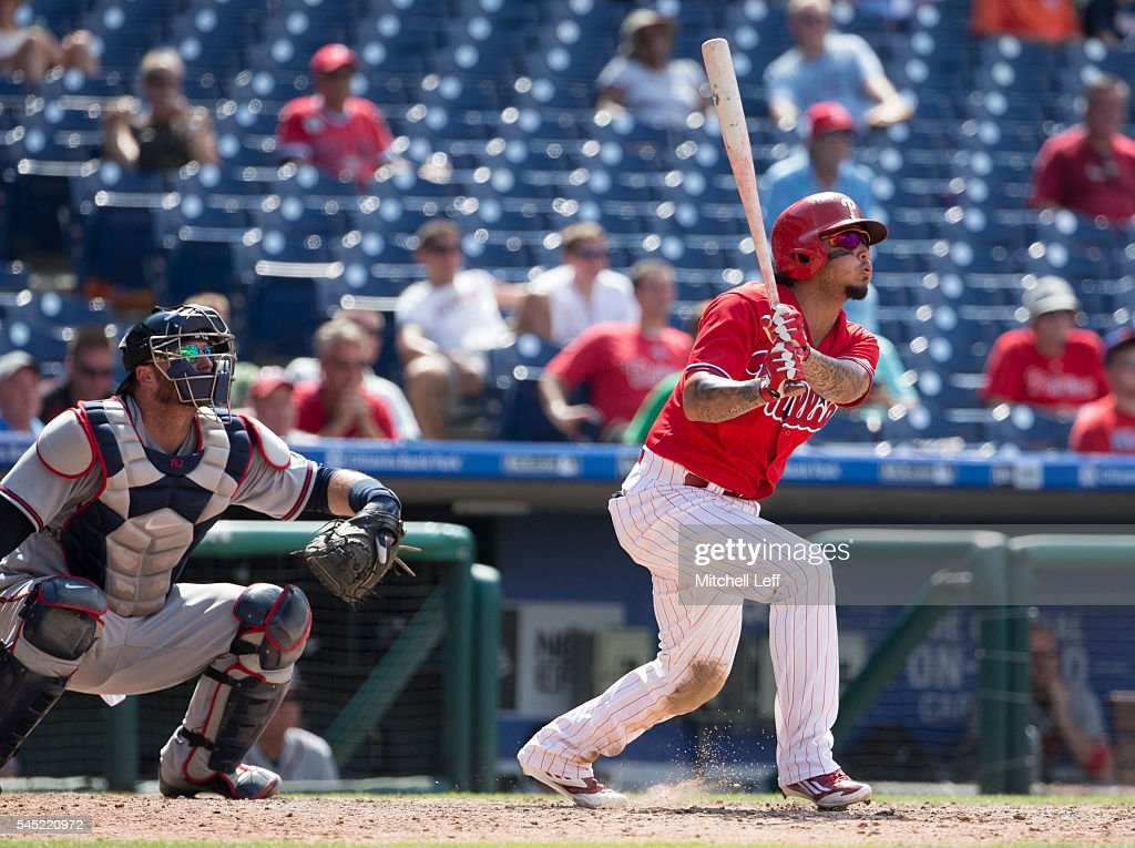 Freddy Galvis #13 of the Philadelphia Phillies hits a two run home run in the bottom of the eighth inning against the Atlanta Braves at Citizens Bank Park on July 6, 2016 in Philadelphia, Pennsylvania. The Phillies defeated the Braves 4-3.
