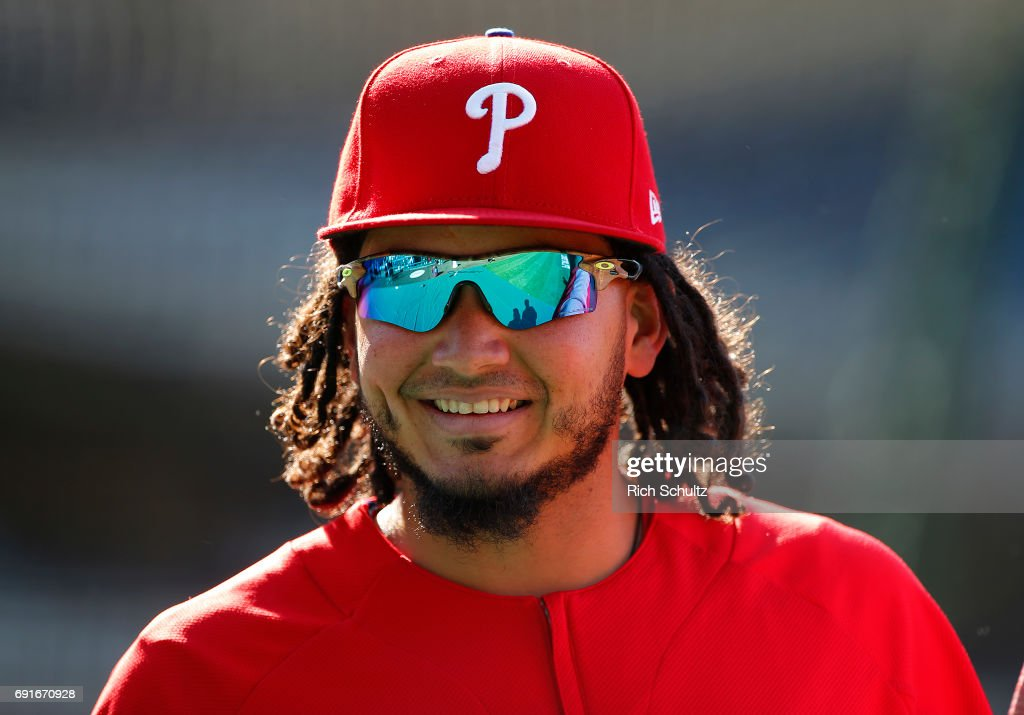 Freddy Galvis #13 of the Philadelphia Phillies on the field during warmups before a game against the San Francisco Giants at Citizens Bank Park on June 2, 2017 in Philadelphia, Pennsylvania.