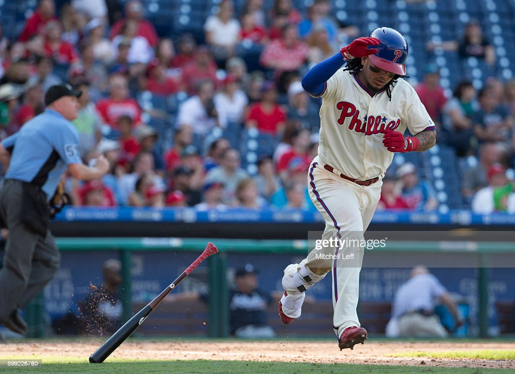 Freddy Galvis #13 of the Philadelphia Phillies tosses his bat after flying out in the bottom of the eighth inning against the Atlanta Braves at Citizens Bank Park on September 4, 2016 in Philadelphia, Pennsylvania. The Braves defeated the Phillies 2-0.