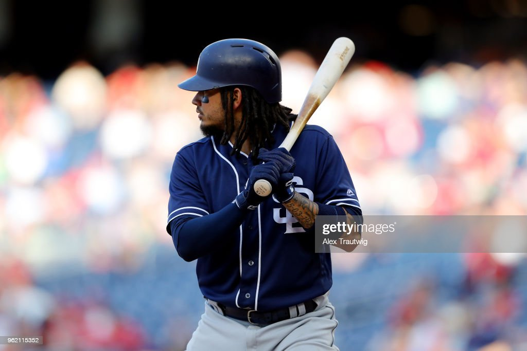 Freddy Galvis #13 of the San Diego Padres bats during a game against the Washington Nationals at Nationals Park on Wednesday, May 23, 2018 in Washington, D.C.