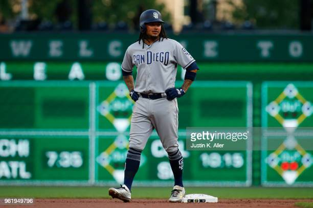 Freddy Galvis of the San Diego Padres in action against the Pittsburgh Pirates at PNC Park on May 17 2018 in Pittsburgh Pennsylvania Freddy Galvis