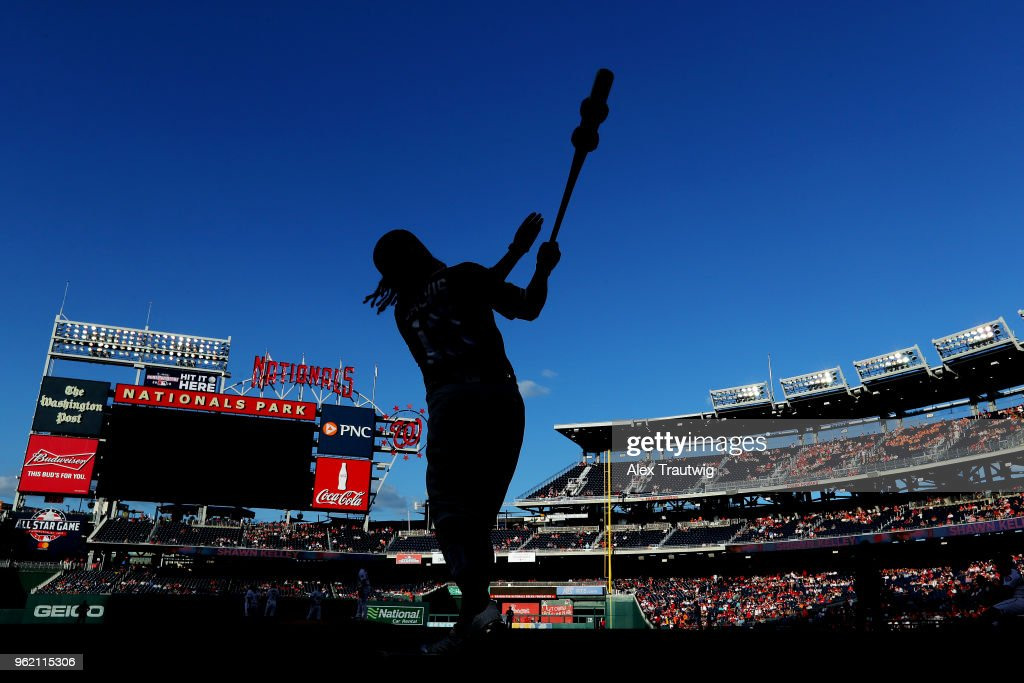 Freddy Galvis #13 of the San Diego Padres stands on deck during a game against the Washington Nationals at Nationals Park on Wednesday, May 23, 2018 in Washington, D.C.