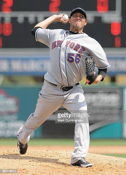 Freddy Garcia of the New York Mets pitches against the Detroit Tigers during the spring training game at Joker Marchant Stadium on March 13 2009 in...