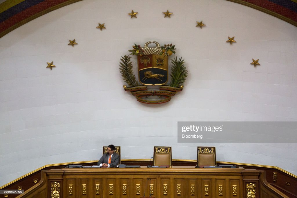 Freddy Guevara, vice president of the National Assembly, listens during a special session of the National Assembly of Caracas, Venezuela, on Saturday, Aug. 19, 2017. Venezuela's new legislative super body took over the functions of the country's only remaining opposition-run institution -- the National Assembly -- by approving a decree that empowers it to pass laws on a range of issues. Photographer: Wil Riera/Bloomberg via Getty Images