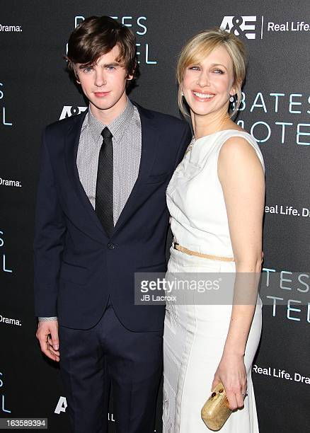 Freddy Highmore and Vera Farmiga attend the AE new series premiere of 'Bates Motel' at Soho House on March 12 2013 in West Hollywood California
