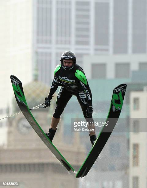 Freddy Krueger of the USA competes in the Mens Jump Final during the Moomba Masters Waterski Championships on the Yarra River on March 10 2008 in...