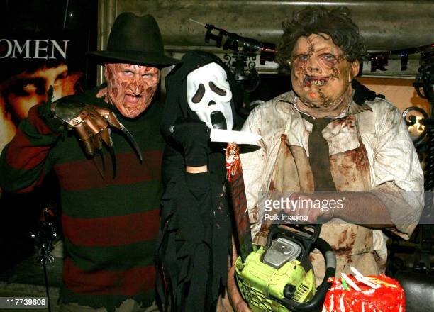 'Freddy Krueger' 'Scream' and 'Leatherface' during 'The Omen' DVD Release Party October 12 2006 in Los Angeles California United States