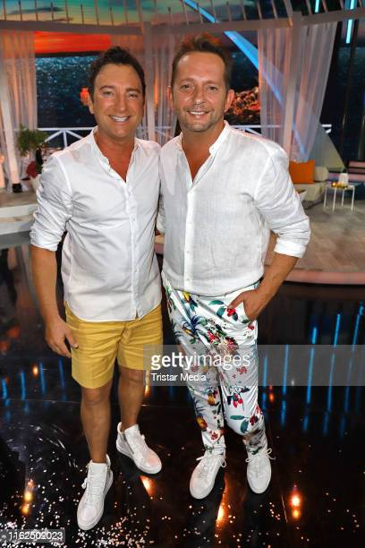 """Freddy Maerz and Martin Hein of the duo Fantasy during the television show """"Willkommen bei Carmen Nebel"""" at Baden-Arena on July 13, 2019 in..."""
