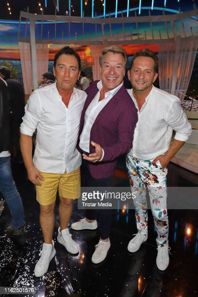 Freddy Maerz and Martin Hein of the duo Fantasy Patrick Lindner during the television show Willkommen bei Carmen Nebel at BadenArena on July 13 2019...