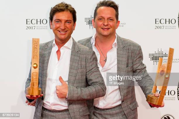 Freddy Maerz and Martin Marcell Fantasy on the red carpet during the ECHO German Music Award in Berlin Germany on April 06 2017