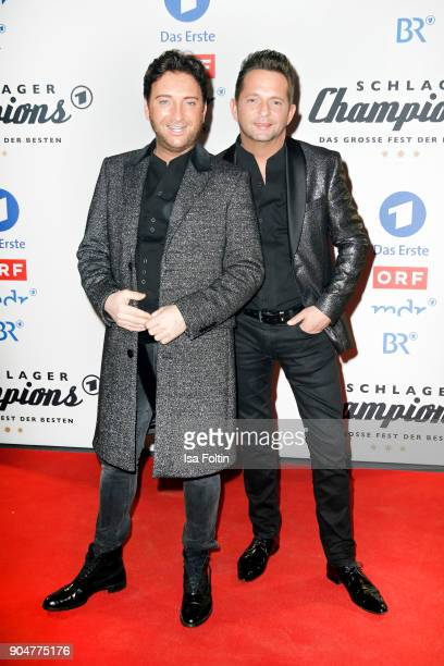 Freddy Maerz and Martin Marcell of the duo 'Fantasy' attend the 'Schlagerchampions Das grosse Fest der Besten' TV Show at Velodrom on January 13 2018...