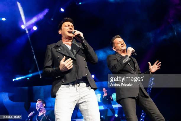 Freddy Maerz and Martin Marcell of the German band Fantasy perform live on stage during 'Die Schlagernacht des Jahres' at the MercedesBenz Arena...