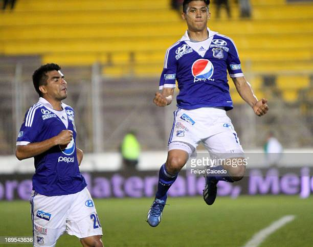 Freddy Montero of Millonarios celebrates a goal against Tolima during a match between Millonarios and Tolima as part of the Liga Postobon 2013 at...