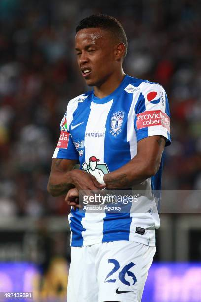 Freddy Pajoy of Pachuca reacts during the Liga BBVA Bancomer MX final match between Pachuca and Leon at Hidalgo Stadium on May 18 2014 in Pachuca...