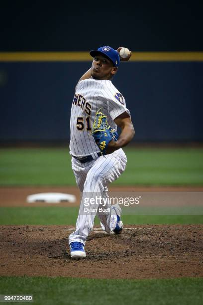Freddy Peralta of the Milwaukee Brewers pitches in the fourth inning against the Atlanta Braves at Miller Park on July 6 2018 in Milwaukee Wisconsin